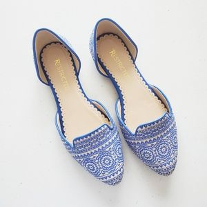 Restricted Glenview Blue Tribal Print Flat Shoes